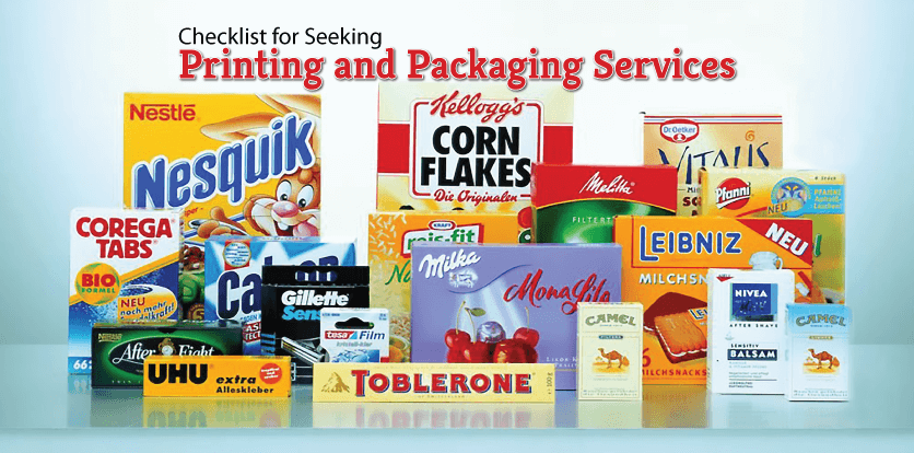 Checklist for Seeking Printing and Packaging Services